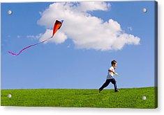 Child Flying A Kite Acrylic Print