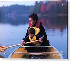 Child Learning To Paddle Canoe Acrylic Print by Oleksiy Maksymenko