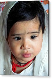 Child Portrait Acrylic Print by Makarand Purohit