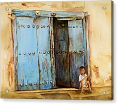 Acrylic Print featuring the painting Child Sitting In Old Zanzibar Doorway by Sher Nasser