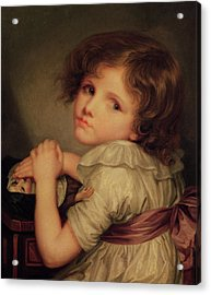 Child With A Doll Oil On Canvas Acrylic Print by Anne Genevieve Greuze