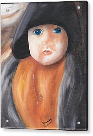 Child With Hood Acrylic Print by Brenda Bonfield