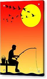 Childhood Dreams 3 Fishing Acrylic Print by John Edwards