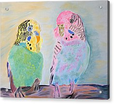 Acrylic Print featuring the painting Childhood Parakeets by Meryl Goudey
