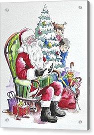 Childre Sneaking Around Santa Acrylic Print