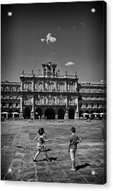 Children At Play In Salamanca Acrylic Print by Tom Bell