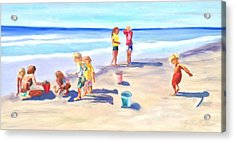 Children At The Beach Acrylic Print