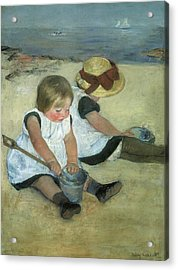 Children At The Seashore Acrylic Print by Mary Cassatt