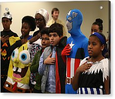 Children Attend Halloween-themed U.s. Citizenship Ceremony In Baltimore Acrylic Print by Mark Wilson