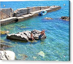 Children Fascinated With Black Sea  Acrylic Print by Rick Todaro
