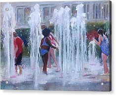 Children In Fountains Acrylic Print