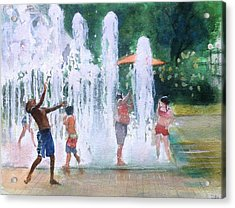 Children In Fountains II Acrylic Print