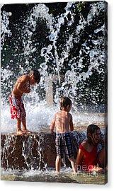 Children In The Fountain Acrylic Print
