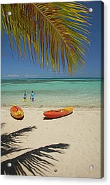 Children, Kayaks And Palm Frond Acrylic Print