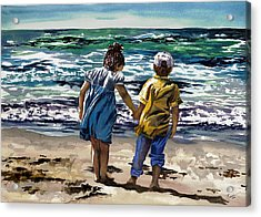 Children On The Beach Acrylic Print by Maureen Dean