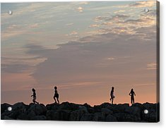 Children Paying At Sunset Time Acrylic Print by Carolyn Reinhart
