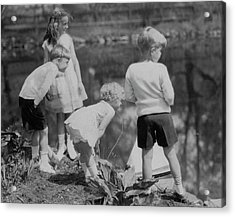 Children Playing Beside A Pond Acrylic Print