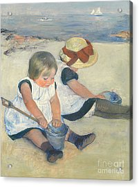 Children Playing On The Beach Acrylic Print by Mary Stevenson Cassatt