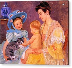 Children Playing With A Cat Acrylic Print by Marry Cassatt