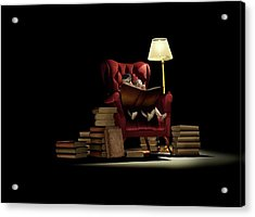Children Reading At Night Acrylic Print