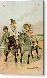Children Riding Donkeys At The Seaside Acrylic Print by Harriet M Bennett