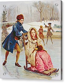 Children Skating Acrylic Print by Maurice Leloir