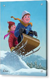 Children Snow Sleigh Ride Acrylic Print by Martin Davey