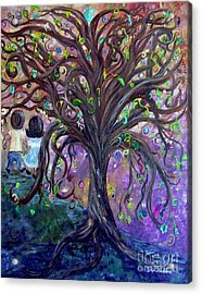 Acrylic Print featuring the painting Children Under The Fantasy Tree With Jackie Joyner-kersee by Eloise Schneider