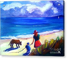 Acrylic Print featuring the painting Children With Dog - Original Sold by Therese Alcorn