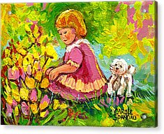 Children's Art - Little Girl With Puppy - Paintings For Children Acrylic Print by Carole Spandau