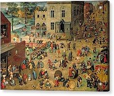 Childrens Games Kinderspiele, 1560 Oil On Panel Acrylic Print
