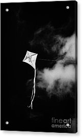 Childs Kite With Frog Design Flying Against Blue Sky Acrylic Print