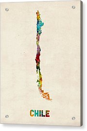 Chile Watercolor Map Acrylic Print by Michael Tompsett