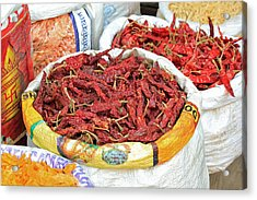 Chili At The Market Acrylic Print by E Faithe Lester