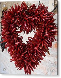 Acrylic Print featuring the photograph Chili Pepper Heart by Kerri Mortenson