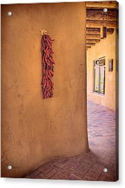 Chili Peppers On Adobe Wall Acrylic Print