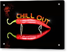 Chilli Pepper And Text Chill Out Acrylic Print