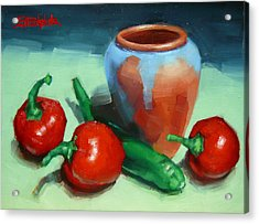 Acrylic Print featuring the painting Chilli Peppers And Pot by Margaret Stockdale