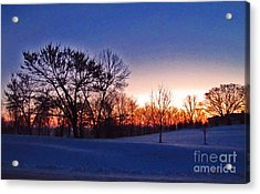 Chilly Beautiful Sunrise Acrylic Print by Minding My  Visions by Adri and Ray
