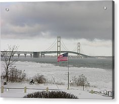 Chilly Mackinac Bridge Acrylic Print