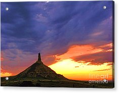 Chimney Rock Nebraska Acrylic Print by Olivier Le Queinec