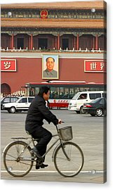 Acrylic Print featuring the photograph China Bicycle by Henry Kowalski