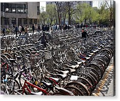 Acrylic Print featuring the photograph China Bicycle Parking by Henry Kowalski