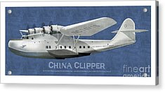Acrylic Print featuring the drawing China Clipper Nc 14716 by Kenneth De Tore