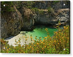 China Cove And Beach, Point Lobos State Acrylic Print by Michel Hersen
