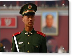 Acrylic Print featuring the photograph China Soldier by Henry Kowalski