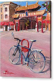 Chinatown Bicycle Acrylic Print by Ron Wilson