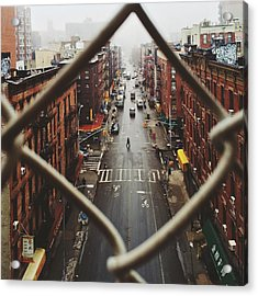 Chinatown Seen Through Fence On A Foggy Acrylic Print by Alexander Spatari