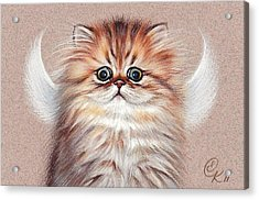 Chinchilla Kitten Angel Acrylic Print by Elena Kolotusha
