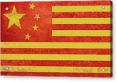 Chinese American Flag Acrylic Print by Tony Rubino